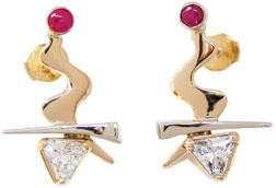 gold earrings with ruby