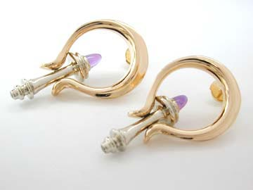 gold earrings with amethyst bullets