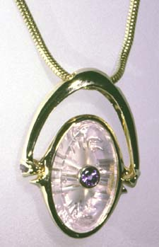 rose quartz and tanzanite pendant